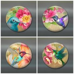 A set of colourful hummingbird art magnets. A great housewarming gift.