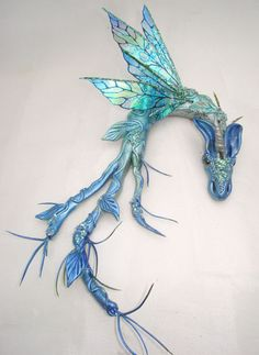 OOAK Fairy Handcrafted Polymer Clay Art Sculpt Water Dragon. $35.00, via Etsy.