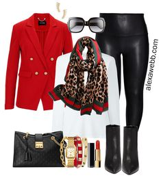 Plus Size Gucci Scarf Outfit Ideas - Faux Leather Leggings, Red Blazer, White T-Shirt, Ankle Booties - Alexa Webb - Plus Size Fashion for Women - One Gucci scarf styled it into eight different plus size outfits. Leather Leggings Outfit, Faux Leather Leggings, Blazer Outfits For Women, Scarf Outfits, Gucci Outfits, Red Scarf Outfit, Fall Outfits, Chic Outfits, Fashion Outfits