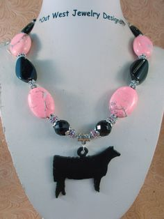 Cowgirl Western Necklace Set - Chunky Pink Howlite Turquoise - Black Agate - Angus Show Heifer Pendant - pinned by pin4etsy.com
