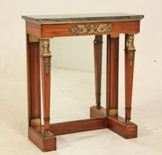 ENGLISH REGENCY STYLE MARBLE TOP ROSEWOOD CONSOLE