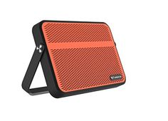 Raidfox Everywhere Wireless Bluetooth Speaker Portable Mini Safe Rechargeable Battery Waterproof Outdoor Indoor with NFC Microphone Loud MP3 MP4 iPod Play Music Retro Design BlackOrange ** AMAZON Great Sale