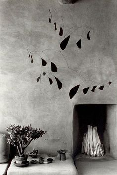 Mobile by Alexander Calder at Georgia O'Keeffe's house in Abiqui, New Mexico, 1980 . Myron Wood