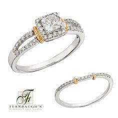 14K White Gold Wedding Set 3/8 carat center 3/4 carat total weight (12D)