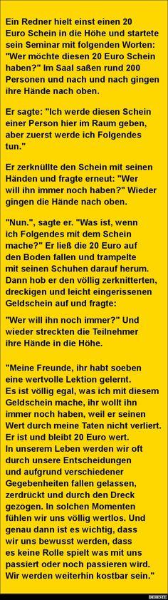 Ein Redner hielt einst einen 20 Euro Schein.. | DEBESTE.de, Lustige Bilder, Sprüche, Witze und Videos