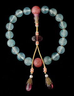An Aquamarine and Tourmaline Rosary-Bracelet, Qing Dynasty, Estimate: $18,000/22,000. Michaan's Auctions