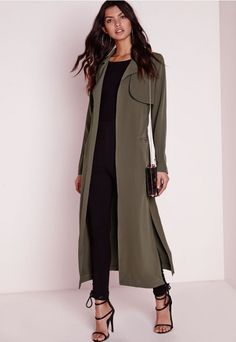 Maxi Belted Utility Duster Coat Khaki                                                                                                                                                     More