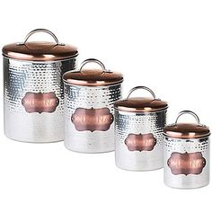 "Buy Global Amici Medium ""Cucina"" Hammered Metal Canister from Bed Bath & Beyond Food Canisters, Glass Canisters, Kitchenware, Coffee Canister, Canister Sets, Stainless Steel Canisters, Food Storage, Coffee Shop, Kitchen Ideas"