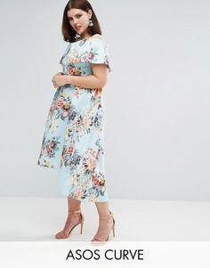 257f1cfd2df ASOS CURVE Deep Bardot Scuba Bright Floral Dip Back Midi Dress at asos.com. Plus  Size Womens ClothingClothes ...