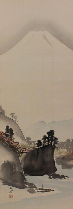 Japanese Fine Art Wall Hanging Scroll Painting Landscape Mt Fuji Kakejiku – 1412073