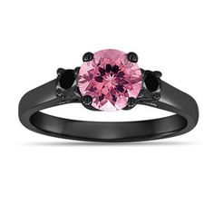 Pink Tourmaline And Black Diamond Three Stone Engagement Ring Vintage Style 14K Black Gold 1.15 Carat Birthstone