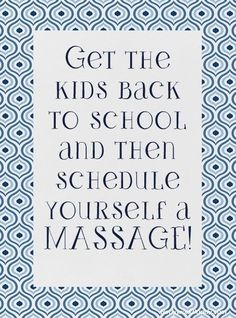 Get the kids back to school and schedule yourself a #massage.  Come to Fulcher's Therapeutic Massage in Imlay City, MI and Lapeer, MI for all of your massage needs!  Call (810) 724-0996 or (810) 664-8852 respectively for more information or visit our website lapeermassage.com!