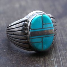 Hand Crafted Native American Men's Ring Natural Turquoise set in Sterling Silver Signed *AY by artisan One Of A Kind! Size 11
