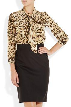 Roberto Cavalli Leopard-print silk crepe de chine blouse $1,240