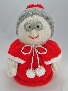 Knitting Pattern Instructions to Make Mrs Santa Toilet Roll Cover Christmas Knitting Patterns, Knit Patterns, Double Knitting, Baby Knitting, Knitted Baby, Types Of Puppets, Cast Off, Hand Puppets, Hobbies And Crafts