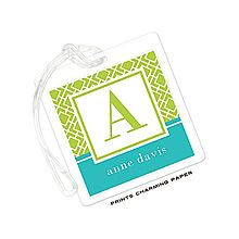 Lime and Turquoise Geometric Print Initial Luggage Tag
