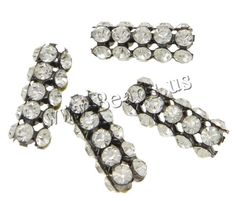 Brass Jewelry Finding, Tube, plumbum black color plated, with rhinestone & hollow, nickel, lead & cadmium free, 23x9x9mm, 10PCs/Bag,china wholesale jewelry beads***0.23/0.14