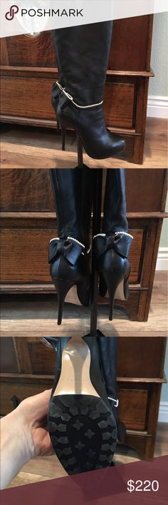 """Authentic Valentino Leather Boots. Gorgeous. Like new. Worn twice. Originally paid $485. These have a slight platform built in with a 5"""" heel.  Beautiful pearl beading around the ankle and bow on back. Circumference around very top of boot is about 14"""" so could probably go to 15"""" because of Leather. These boots are gorgeous and show very little to no wear.  Please ask me any questions.  All sales are final.  Thank you.  Please look at my other listings as I am no longer working and I'm…"""