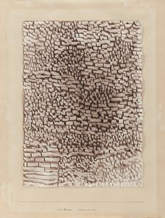 """Paul Klee 1879 - 1940 STEINWÜSTE (STONE DESERT) signed Klee (upper right); dated and titled (1933 Zet neun) """"Steinwüste"""" on the artist's mount watercolour on paper laid down on the artist's mount image: 18 7/8 x 13 1/2 in. ; mount: 24 3/4 x 18 7/8 in. Executed in 1933."""