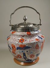 Ironstone China Imari Style Design Biscuit Barrel With EPNS Handle & Lid