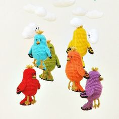 crochet baby mobile with birds and clouds