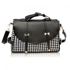Fashion Houndstooth and Buckle Design Women's Crossbody Bag, BLACK in Crossbody Bags | DressLily.com