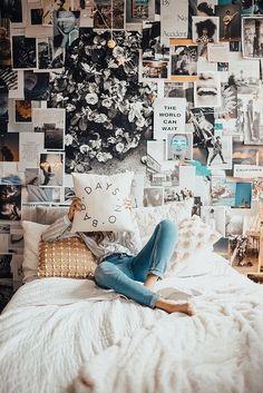 38 Outstanding Teen Bedroom Wall Decor - Bright Bedroom With Collage Wall Decorations Bedroom - Room Decor For Teen Girls, Teen Girl Bedrooms, Teen Bedroom, Diy Bedroom, Girl Rooms, Teen Wall Decor, Master Bedroom, Modern Bedroom, Dream Rooms