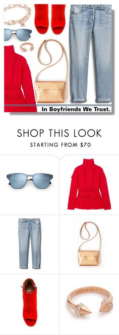"""""""Boyfriendetta."""" by peony-and-python ❤ liked on Polyvore featuring Altuzarra, Gap, Givenchy, Vita Fede, Rebecca Minkoff, love, denim, booties and casualoutfit"""