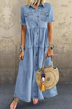 Shop Floryday for affordable Dresses. Floryday offers latest ladies' Dresses collections to fit every occasion. Best Casual Dresses, Short Sleeve Dresses, Summer Dresses, Short Sleeves, Half Sleeves, Elegant Dresses, Types Of Sleeves, Denim Maxi Dress, Maxi Dresses