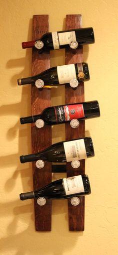Vintage Wood Wine Stave Wall 9 Bottle Holder Rack