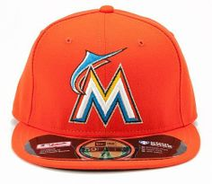 11f5fb73ab9f4 Miami Marlins Authentic Road Performance On-Field Cap by New Era