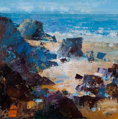 Mike Bernard, BEDRUTHAN STEPS, CORNWALL 24X24 Seascape Paintings, Landscape Paintings, Expressive Art, Coastal Art, Traditional Paintings, Abstract Landscape, Artist Art, Art Techniques, Lovers Art