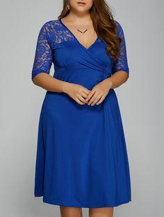 $8.72 Autumn Openwork Lace Insert Draped Dress
