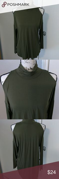 Bobeau Cold Shoulder Mock Neck Top Casual contemporary chic, olive green color, long sleeves Bobeau Tops Tunics