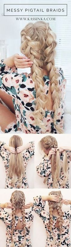 Festival Hair Tutorials - Pigtail Braids Hair Tutorial - Short Quick and Easy Tutorial Guides and How Tos for Braids, Curly Hair, Long Hair, Medium Hair, and that Perfect Updo - Great Ideas for That S(Hair Tutorial For School) Pretty Braided Hairstyles, Pigtail Hairstyles, Pigtail Braids, Braided Hairstyles Tutorials, Trendy Hairstyles, Pigtails Hair, Braids Easy, Beach Hairstyles, Festival Hairstyles