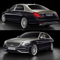 The 2019 Mercedes-Maybach with new two-tone paint and a new grille to differentiate it from the S-Class on which it's based Mercedes Car, Mercedes Benz Cars, Two Tone Paint, Benz S Class, Expensive Cars, Nice Cars, Amazing Cars, Volvo, Supercars