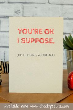 Funny valentines card / anniversary cards Blank inside Slightly bigger than Printed on textured cream card with matching kraft envelope Anniversary Cards For Him, Anniversary Funny, Funny Valentine, Valentines Day, Kraft Envelopes, Just Kidding, Husband Wife, Blank Cards, Etsy Store