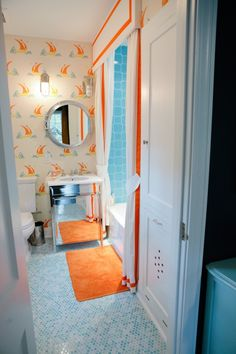 Penny tile on bathroom floor (from Peppermint Bliss blog) - good for kids' bathroom in new house?