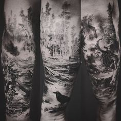 skeleton in tehe forest tattoo by Jeong Hwi