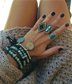love mint blue/green rings and bracelets like this. Vintage, big, yoga/ hippie jewelry