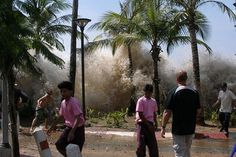 The fast-moving Boxing Day tsunami (2004) hits land in Ao Nang, Thailand.