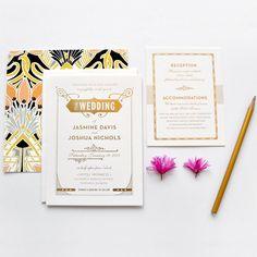 Gatsby gold foil wedding invitations.