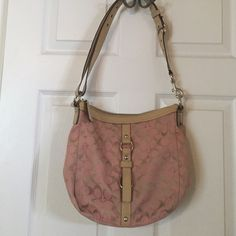 Coach cross body handbag Pink with beige patent leather handles good condition... Clean inside Coach Bags Crossbody Bags
