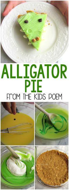 Alligator Pie – this easy no-bake pie recipe is from the popular kids poem! The … - Kids Snacks Kids Cooking Activities, Preschool Snacks, Cooking Classes For Kids, Kids Meals, Easy Cooking For Kids, Reptiles Preschool, Preschool Jungle, Kid Cooking, Cooking Lamb