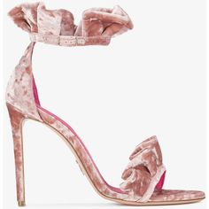 Oscar Tiye Pink Velvet Ruffle Antoinette 115 Sandals ($329) ❤ liked on Polyvore featuring shoes, sandals, ruffle shoes, oscar tiye, pink sandals, pink shoes and ruffle sandals