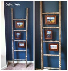 Frames hung from ladder. Found at CraftedNiche.com
