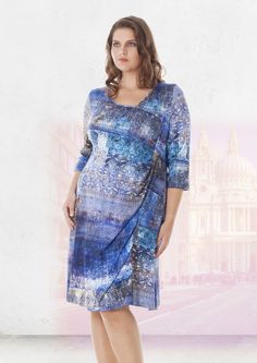 EXELLE SPRING 2017 | Knee-long jersey dress in oriental blue print www.exelle.com