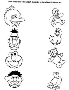 sprout character coloring pages | Matching Activity Coloring Page – Sesame Street Coloring ...