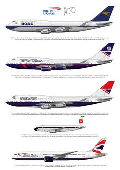 In 2019 British Airways celebrates 100 years of service. The print shows the four specially painted aircraft. The aircraft on the drawing are: Boeing 747-436 G-BYGC in BOAC (British Overseas Airways Corporation) livery. Boeing 747-436 G-BNLY in British Airways Landor livery (1984 to 1997). Boeing 747-436 G-CIVB in British Airways Negus livery (1974-1984). Airbus A319 G-EUPJ in BEA (British European Airways) livery. Boeing 787-9 G-ZBKB in Chatham Dockyard livery.