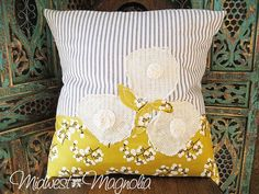 Grey and Yellow pillow cover from midwest magnolia on etsy.com. Have to have it!